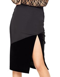 Miss Selfridge Velvet And Satin Pencil Skirt Black