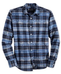 American Rag Men's Aztec Print Plaid Shirt Only At Macy's Sail Blue