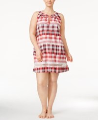 Lucky Brand Plus Size Crochet Trimmed Printed Cotton Nightgown Plaid