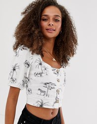 New Look Square Neck Animal Print Button Through Top In White Pattern