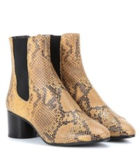 Isabel Marant Danae Printed Leather Ankle Boots Beige