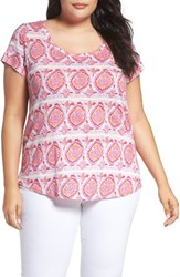 Lucky Brand Plus Size Women's Print Stripe Tee Coral Multi