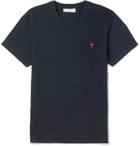 Ami Alexandre Mattiussi Slim Fit Embroidered Cotton Jersey T Shirt Midnight Blue