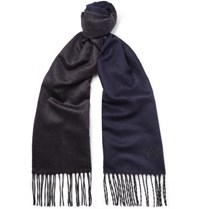 Canali Silk And Cashmere Blend Scarf Navy