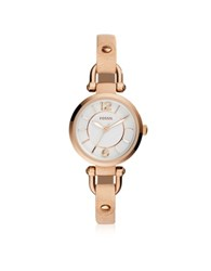 Fossil Georgia Mini Rose Gold Tone Stainless Steel Case And Nude Leather Strap Women's Watch