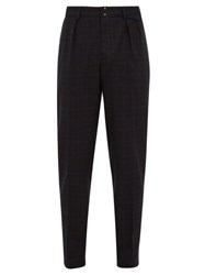 Incotex Slim Fit Checked Wool Blend Trousers Blue Multi
