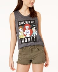 Mighty Fine Juniors' Disney Princess Graphic Tank Top Charcoal