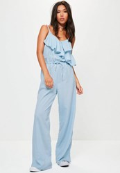 Missguided Blue Frill Front Wide Leg Jumpsuit