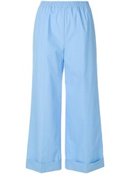 Ermanno Scervino Wide Leg Cropped Pants Blue