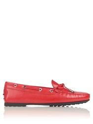 Tod's Gommini Lace Up Leather Loafers Red
