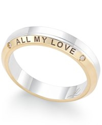 Macy's Diamond Accent 'All My Love' Band In 18K Yellow And White Gold Two Tone