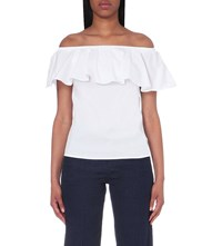 Warehouse Bardot Stretch Cotton Off The Shoulder Top White