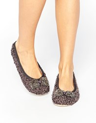 Oasis Pearl Bow Slipper Grey