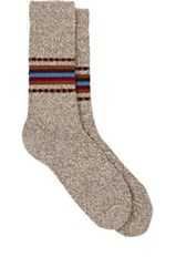 Barneys New York Men's Marled Stockinette Stitched Mid Calf Socks Tan