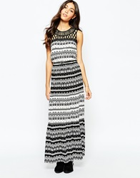 Oasis Aztec Printed Maxi Dress Blackwhite