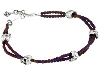 King Baby Studio Square Hematite Double Strand Bracelet With Skulls Purple