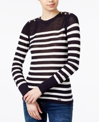 Tommy Hilfiger Button Shoulder Striped Sweater Only At Macy's Midnight Ivory