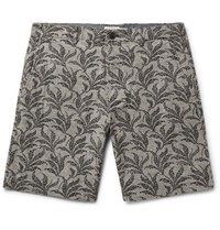 Club Monaco Maddox Geo Leaf Embroidered Stretch Linen And Cotton Blend Shorts Army Green