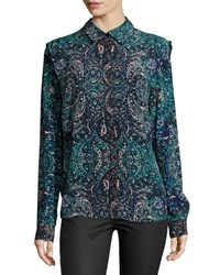 See By Chloe Mosaic Print Long Sleeve Blouse Blue