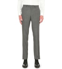 The Kooples Mid Rise Tapered Wool Trousers Grey