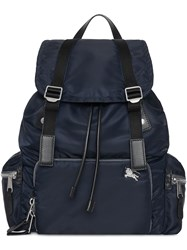 Burberry The Large Rucksack In Aviator Nylon And Leather Blue