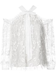 Needle And Thread Embroidered Lace Blouse Women Nylon Polyester 8 White