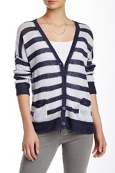 Cullen Stripe Linen Crop Cardigan Blue