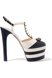 Gucci Striped Leather Platform Pumps Navy