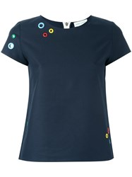 Mira Mikati Eyelets Applique T Shirt Blue