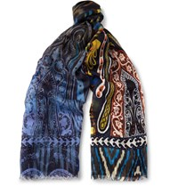 Etro Printed Cashmere And Silk Blend Scarf Blue