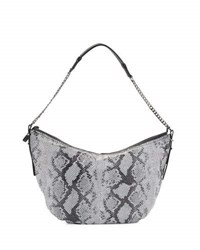Halston Snakeskin Embossed Leather Hobo Bag Black Multi