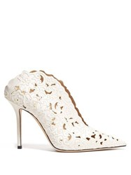 Jimmy Choo Loris 100 Floral Embroidered Satin Mules White