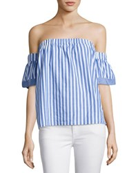 Milly Off The Shoulder Striped Poplin Blouse Multi