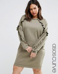 Asos Curve Sweat Dress With Frill Detail Khaki Green