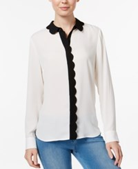 Maison Jules Colorblocked Scallop Detail Shirt Only At Macy's Egret