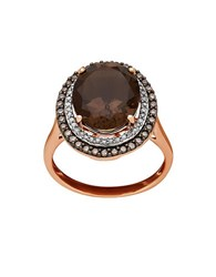Lord And Taylor Diamond Smokey Quartz 14K Rose Gold Ring