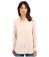 Dylan By True Grit Dream Cotton Long Sleeve Two Pocket Shirt With Crochet First Blush Women's Clothing Bone