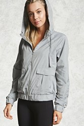 Forever 21 Active Mesh Hooded Jacket Grey