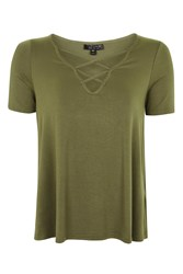 Topshop Cross Front Swing T Shirt Khaki