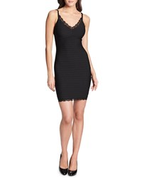 Guess Lace Trim Bodycon Bandage Cocktail Dress Black