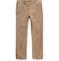 Valentino Slim Fit Stripe Trimmed Cotton Blend Trousers Beige