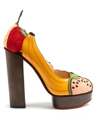 Charlotte Olympia Bananas Is My Business Leather And Suede Pumps Multi