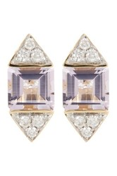 Ron Hami 14K Gold Diamond And Amethyst Stud Earrings Yellow