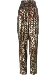 Lanvin Metallic Leopard Trousers Brown