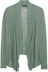 Donna Karan Frayed Fine Knit Cardigan Green