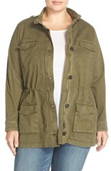 Lucky Brand Plus Size Women's 'The Utility' Brushed Twill Stand Collar Jacket