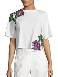3.1 Phillip Lim Cotton Embroidered Applique Tee Antique White