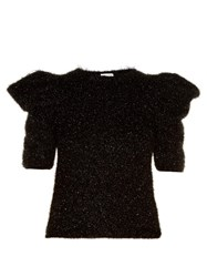 Saint Laurent Puff Shoulder Fil Coupe Sweater Black