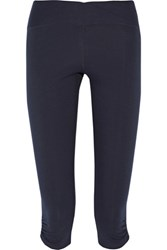 Yummie Tummie By Heather Thomson Candace Cropped Stretch Cotton Leggings Storm Blue