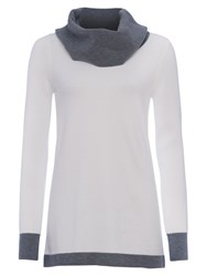 French Connection Babysoft Cowl Neck Stripe Jumper Winter White Grey Mel